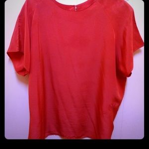 XL 100% Silk Red Venezia Box Top *Dry Cleaned*